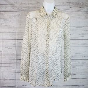 Free People Blouse Sz Small Off White Floral